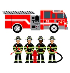 firetruck and fireman vector image vector image