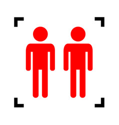 Gay family sign red icon inside black vector