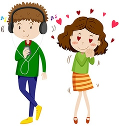 Girl in love with boy vector image