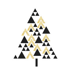Gold geometric Christmas tree symbol Isolated on vector image