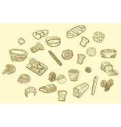 hand drawn bread icons set vector image