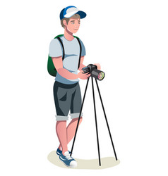 happy photographer is taking a photo using slr vector image vector image