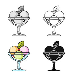 Ice cream in the glass bowl icon in cartoon style vector