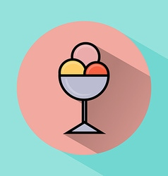 Ice cream scoops in bowl flat icon vector