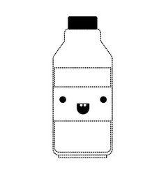 kawaii milk bottle in black dotted silhouette vector image