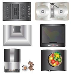 Kitchen equipment top view set 9 vector image vector image