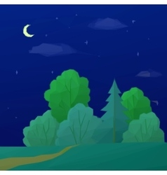 Landscape Night Forest Low Poly vector image