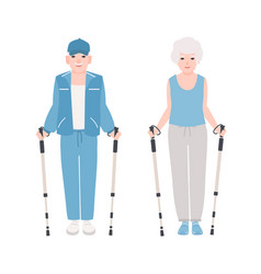 Pair of elderly men and women dressed in sports vector
