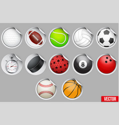 Round stickers with sport balls and equipment vector