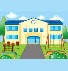 school scene with playground vector image