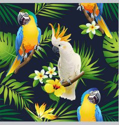 Seamless pattern of parrots cockatoo on the tropic vector