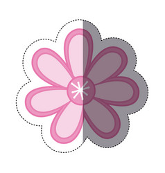 Sticker color sketch with pink flower vector