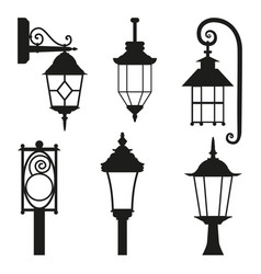 street lamp black silhouette set isolated on white vector image
