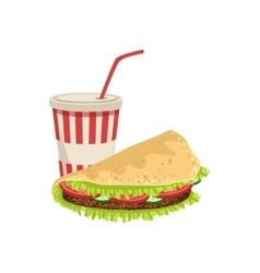 Taco And Soft Drink Street Food Menu Item vector image