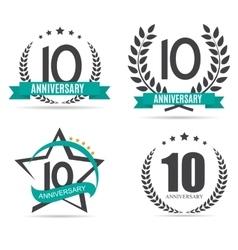 Template Logo 10 Years Anniversary Set vector image vector image