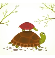 Turtle mother and baby childish animal cartoon vector