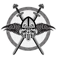 Viking helmet crossed viking sword and in a vector