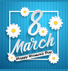 Women day lettering on blue background with vector