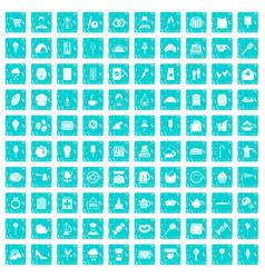 100 patisserie icons set grunge blue vector