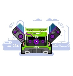 Car audio system vector image