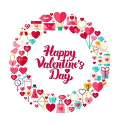Valentines Day Flat Circle vector image