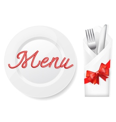 Menu with platefork and knife in envelope vector