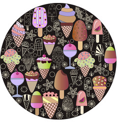 Hand-drawn set of-ice-cream cartoon doodle objects vector