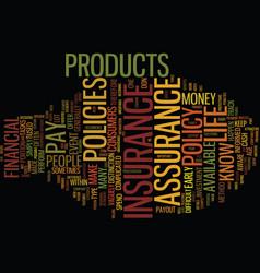 Life insurance vs life assurance text background vector