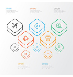 Journey outline icons set collection of plane vector