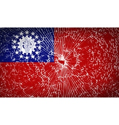 Flags myanmarburma with broken glass texture vector