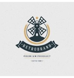 Mill logo design element in vintage style vector