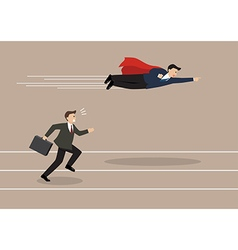 Businessman superhero fly pass his competitor vector