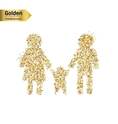 Gold glitter icon of family isolated on vector