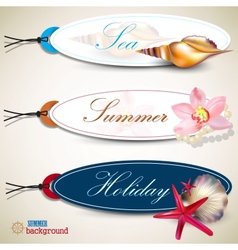 Holiday tags with shells vector