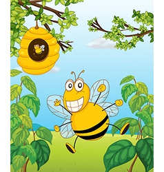 A bee and a beehive vector