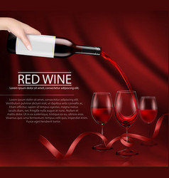 a hand holding a glass wine vector image vector image