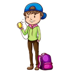 A student with a walkman vector image