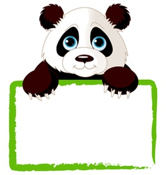 Adorable panda looking over a blank sign vector