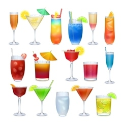 Alcohol coctails and other drinks set vector