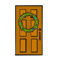 Christmas door decoration vector