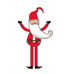 Colorful silhouette of santa claus with long beard vector