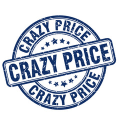 Crazy price blue grunge stamp vector