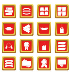 different colorful labels icons set red vector image