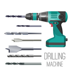 drilling machine or hand drill fitted with cutting vector image vector image