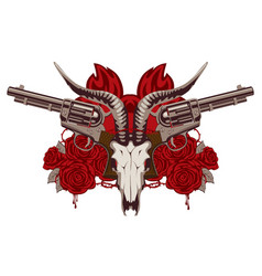 Emblem with skull of goat red roses and pistols vector
