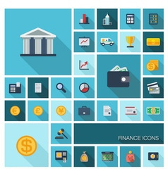 Finance icons with long shadow vector image vector image