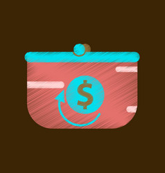 Flat shading style icon purse discount vector