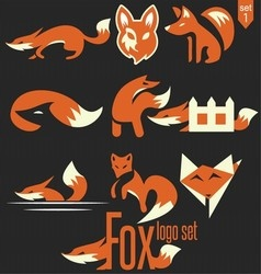 fox logo set 1 vector image