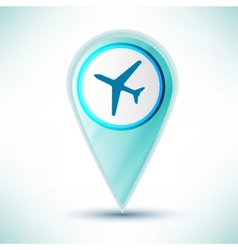 Glossy travel plane icon button design element on vector