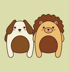 Kawaii couple of animals icon vector